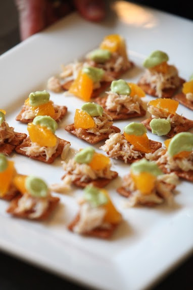 King crab ceviche, with honey tangerine and avocado crema on a crisp tostada. // By Rockne Roll