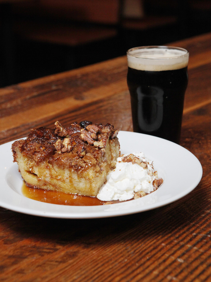 Custard base bread pudding with bourbon caramel sauce served with Grain Station Brew Works' Hank's Dark Ale // Rockne Roll