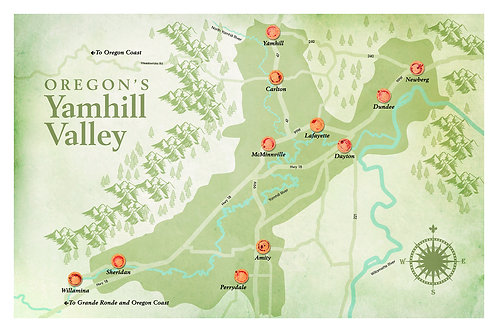 Map of Yamhill Valley Wine Poster