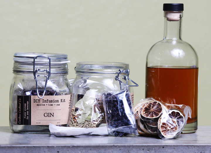 A selection of bitters, garnishes and a DIY gin infusion kit produced by Carlton Cocktail Co. // Photos by Rockne Roll