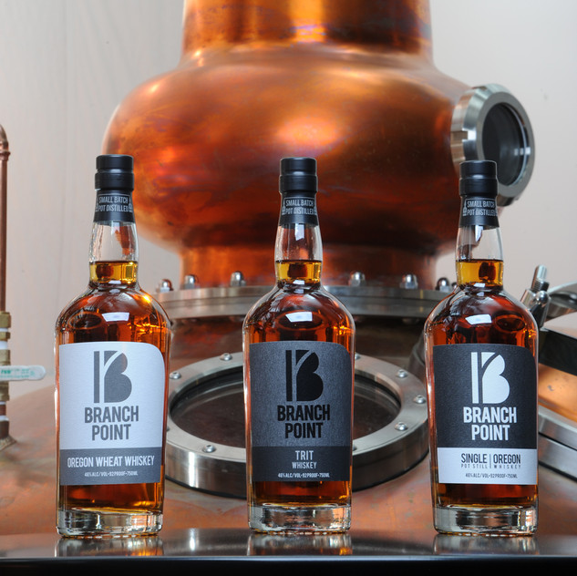 Branch Point offers three different whiskies: Trit, Wheat, and Single Malt.