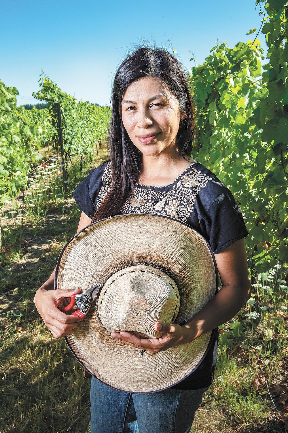 Elena Rodriguez at her estate vineyard.