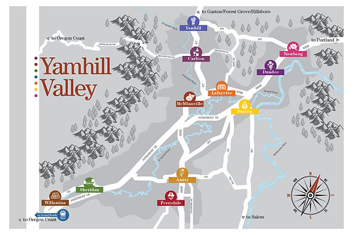 Map of Yamhill Valley Communities Poster