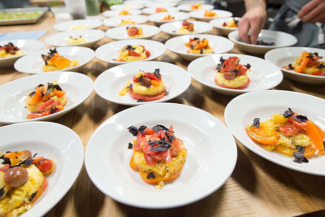 Corn pudding, topped with tomatoes and basil by Valley Commissary for a winemaker's dinner during the 2015 Bounty Of Yamhill County. // By Marcus Larson