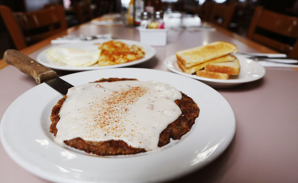 Country fried steak and eggs at Banner's Restaurant.