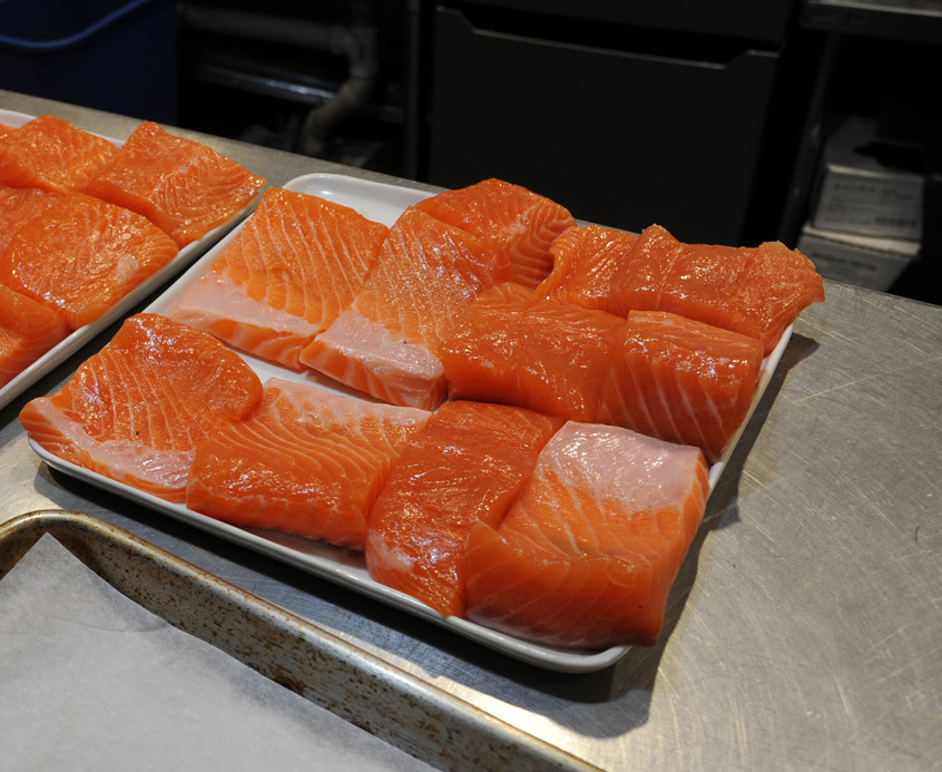 Norma sourced the salmon locally. The cuts are ready for the oven.