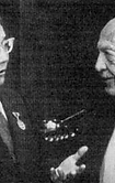 Yumjâgîn Tsedenbal, président le Mongolie de 1940 a 1984, et Owen Lattimore en 1981