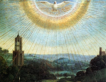 Le Saint-Esprit, détail de L'Adoration de l'Agneau mystique