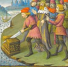 Le roi Arthur tirant l'épée du perron de pierre.png