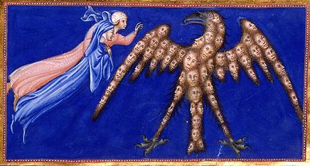 Dante et Béatrice devant l'Aigle de justice Giovanni di Paolo