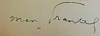Signature de Max Frantel