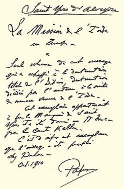 Note rédigée par Papus sur son exemplaire de l'édition originale de Mission de l'Inde