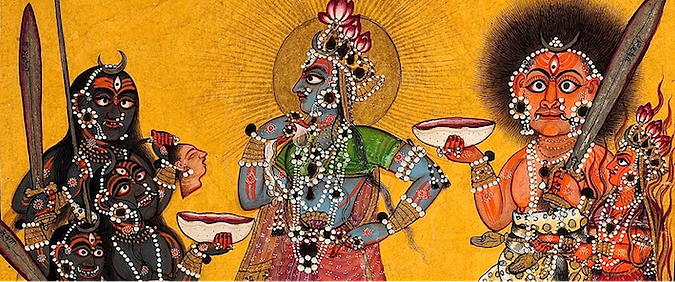 Bhadrakâlî avec 3 formes de kali, Bhima et Vahni-priya