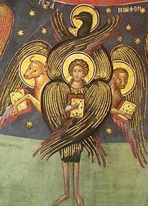 Tétramorphe,  fresque d'un monastère des Météores