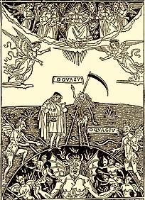 Homme, Mort, Ciel, enfer, bois gravé médiéval