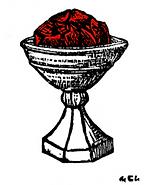 coupe contenant une escarboucle figurant le graal