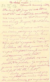 Première page lettre Aguéli à Marie Huot