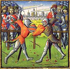 Moyen Age joute de chevaliers