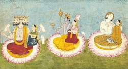 Brahmâ et Sarawatî ; Vishnu et Lakshmî ; Shiva et Pârvatî