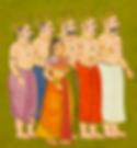 Draupadi et ses époux, les cinq Pandavas