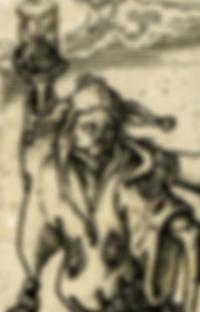 Fou, sablier, mort, gravure médiévale