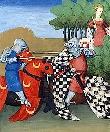 Moyen Age joute de chevaliers à cheval