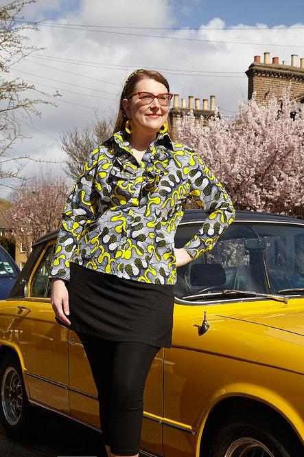 Lemon Yellow Abstract Ruffle Shirt