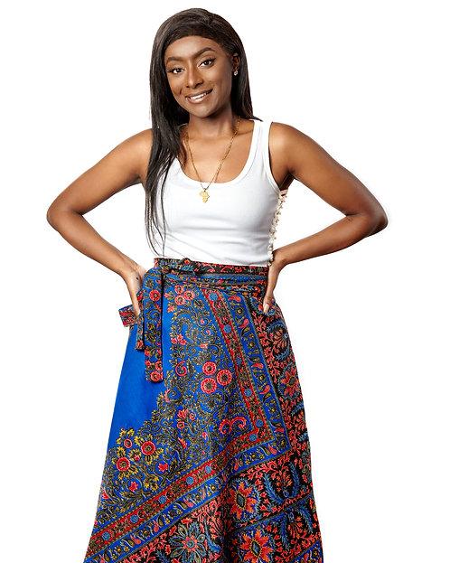 Blue & Red Wrap Skirt