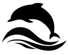 Black dolphin jumping over three black waves with a white background