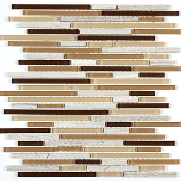 Bianco Wood/Beige/Brown/Gold Glass