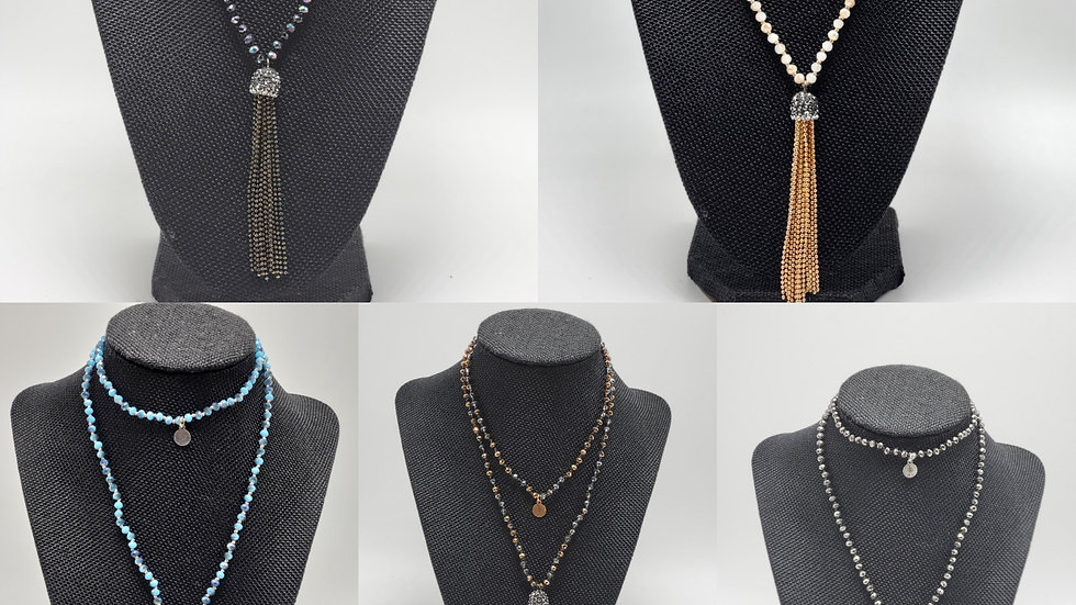 Crystal Tassel Necklace with Reiki Charm