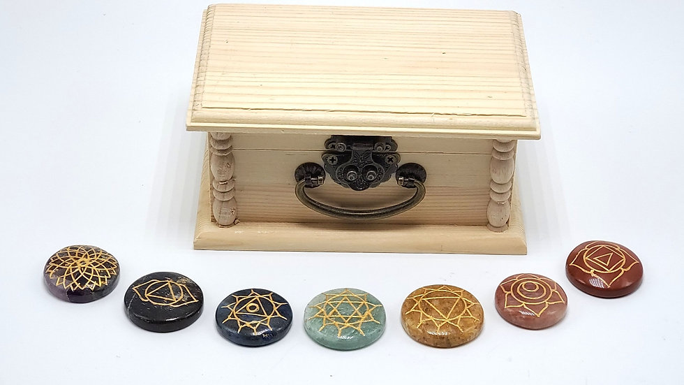 Energy Charged *7 Chakra Meditation Stones with wooden box