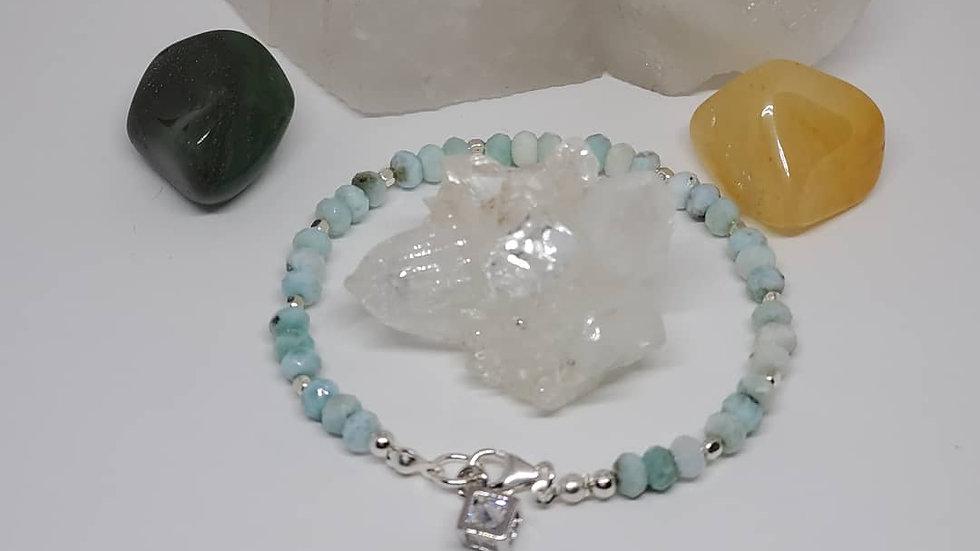 Blue Larimar Sterling Silver Natural Gemstone Bracelet