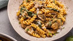 Pumpkin, Mushroom and Spinach Pasta