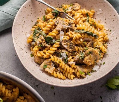 Pumpkin, Mushroom and Spinach Pasta