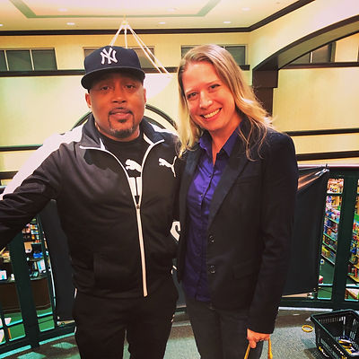 Ghostwriter Laura Schaefer with author and Shark Tank star Daymond John