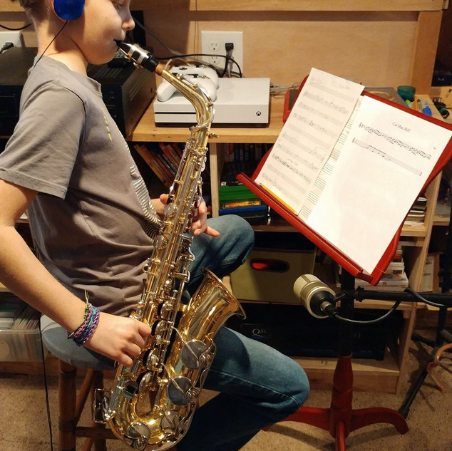 Sax man recording on Cat Man