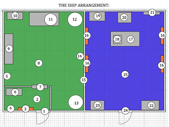 Escape room design an part of scenario/script, layour of exit game, plan of exit room