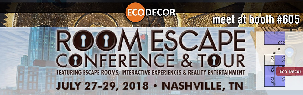 EcoDecor at Room escape conference and tour (REC, RECT) 2018. Booth #605