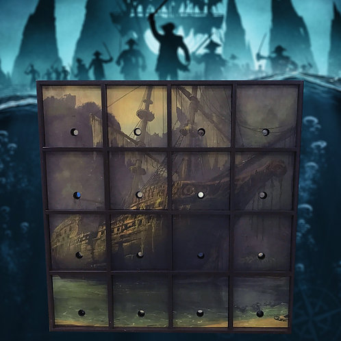 16 buttons: Pirates of the Caribbean escape room prop