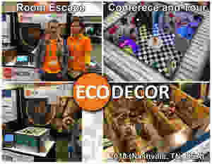 EcoDecor at Escape room conference (RECT 2018) in Nashville (TN). Different suppliers and vendors. A lot of puzzles, props and decorations for escape games (rooms).