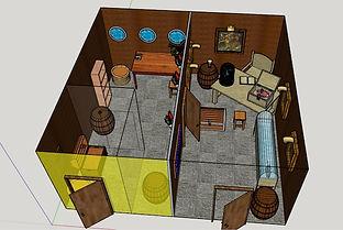 escape room layout/plan. 3d model of escape room