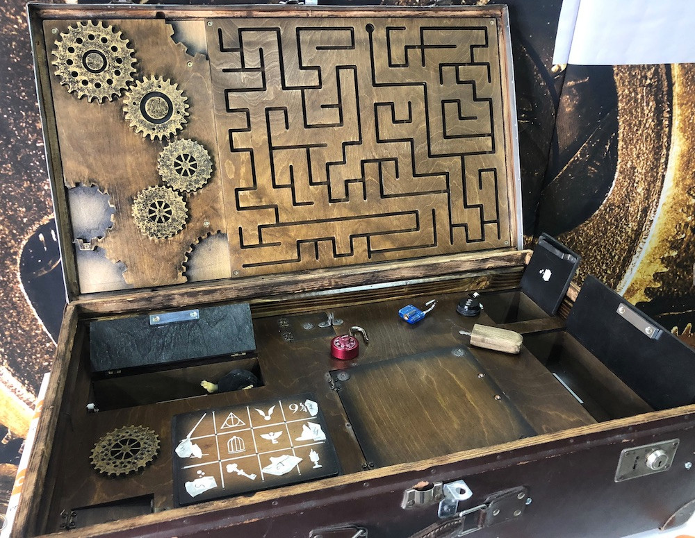 portable case with 9 puzzles inside