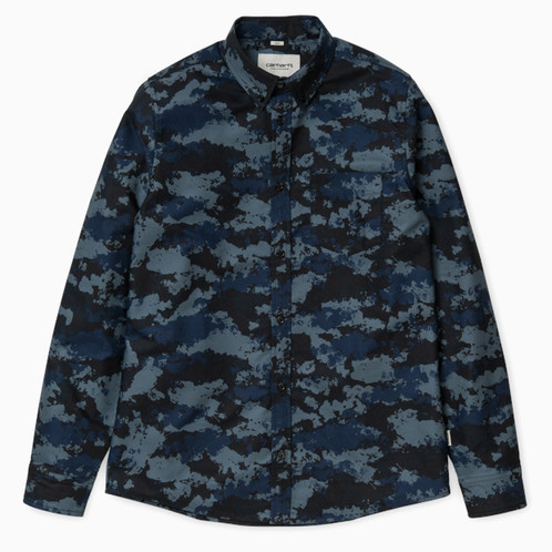 ec89ea49 CARHARTT WIP L/S Camo Painted Shirt, Blue Rinsed