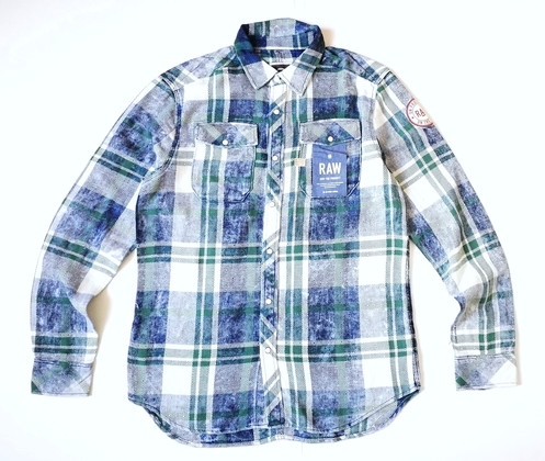 7bb6764fb41 G-Star LANDOH AW2 LS Shirt, Indigo Bino Check, Rinsed