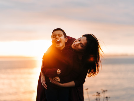 Beautiful sunset family session at Crescent beach -Family photography