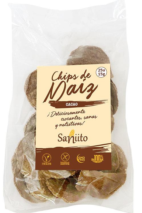 Chip de maiz sabor chocolate y cacao (15 grs. - 25 unidades)