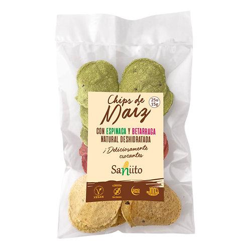 Chips de maíz con betarraga y espinaca (15 grs. - 25 unidades)
