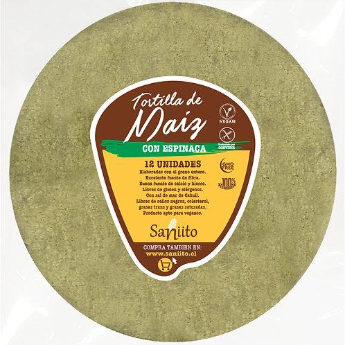 Tortilla de Maíz para Fajitas con espinaca - 17 cms (8 unidad