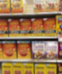 Overabundance of products (cereals) in supermarket